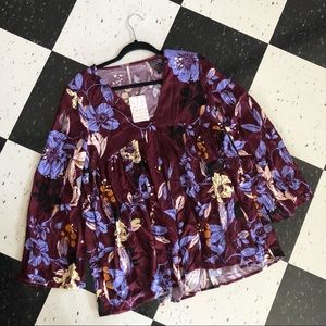 free people - nwt floral bell sleeve tunic/dress